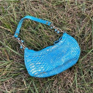 Y2K snakeprint pattern mini blue handbag